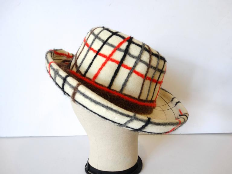 Yves Saint Laurent Wool Plaid Chapeau
