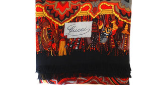 1980s Gucci Red Paisley Printed Fringe Shawl