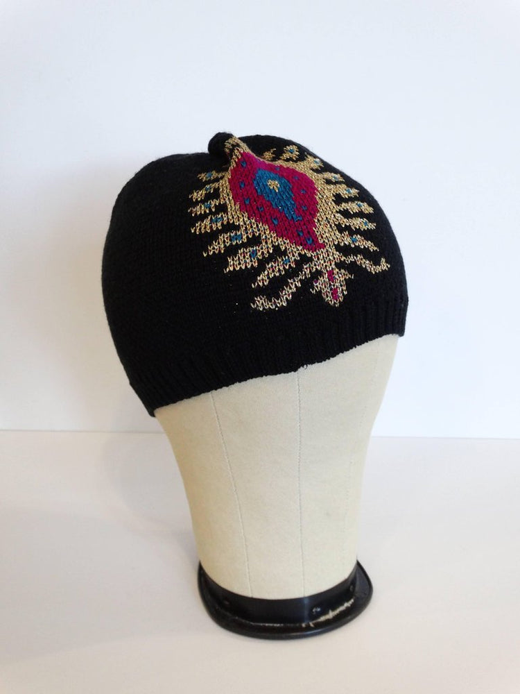 Rare 1970s Yves Saint Laurent Knitted Peacock Beanie