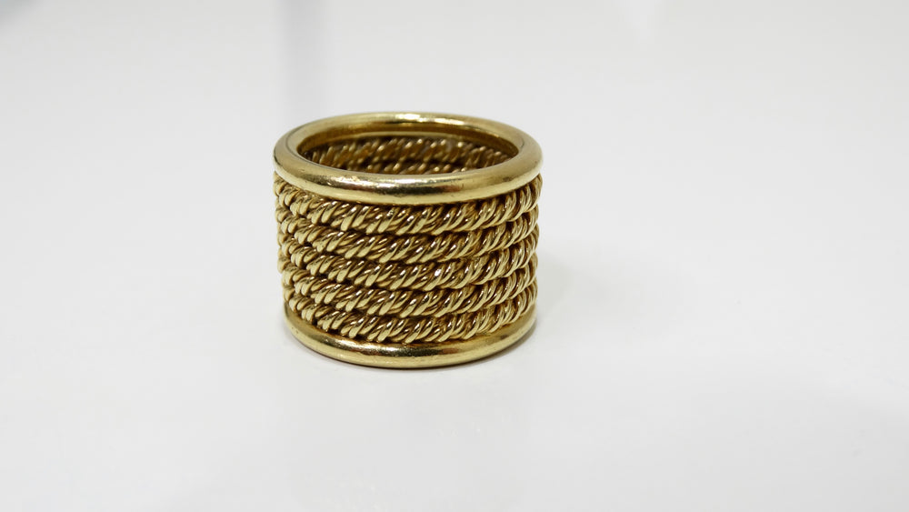 18k Gold 1950s Mesh Band Ring