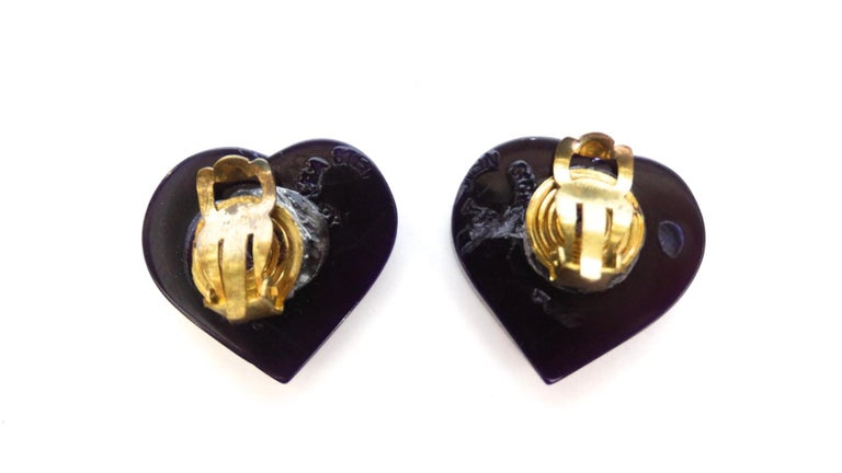 1970s Lea Stein Clip On Heart Earrings