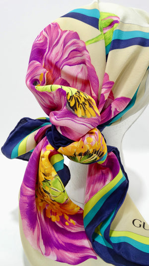 Gucci Purple Poppy Silk Scarf