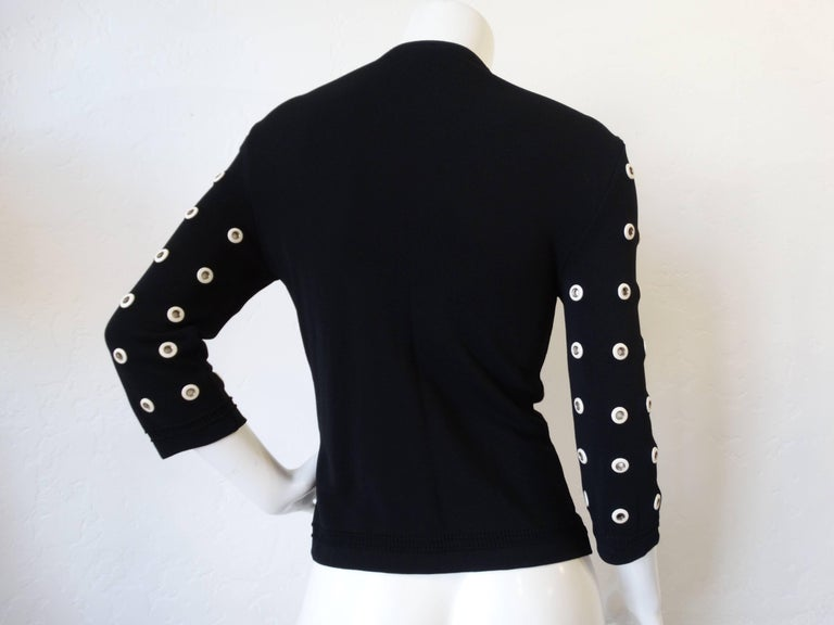 2000s Gianfranco Ferre Leather Eyelet Cardigan Sweater