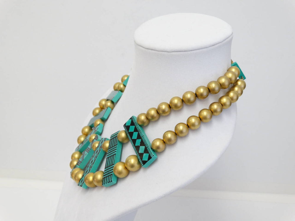 1980s Guillemette L'Hoir Tribal Bib Necklace