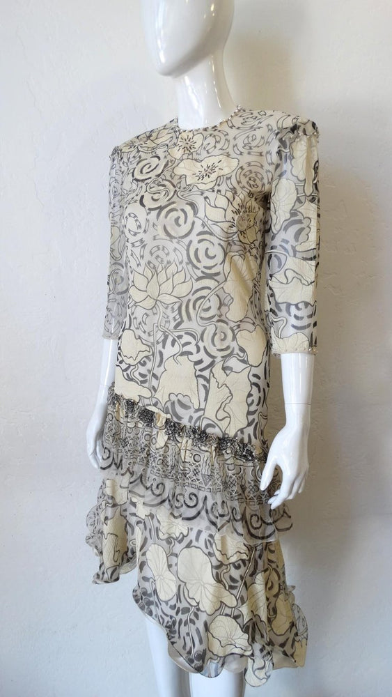 1980s Zandra Rhodes Abstract Motif Drop Waist Silk Dress