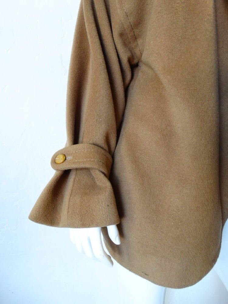 1980s James Galanos Avant-Garde Tan Wool Coat