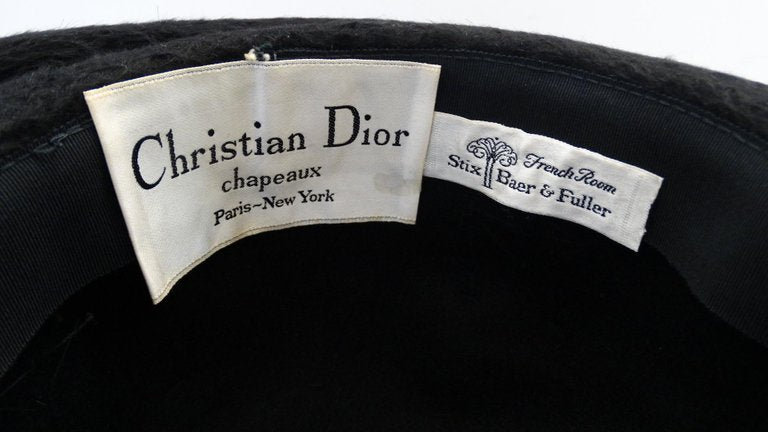 1960s Christian Dior Black Felt Derby Hat