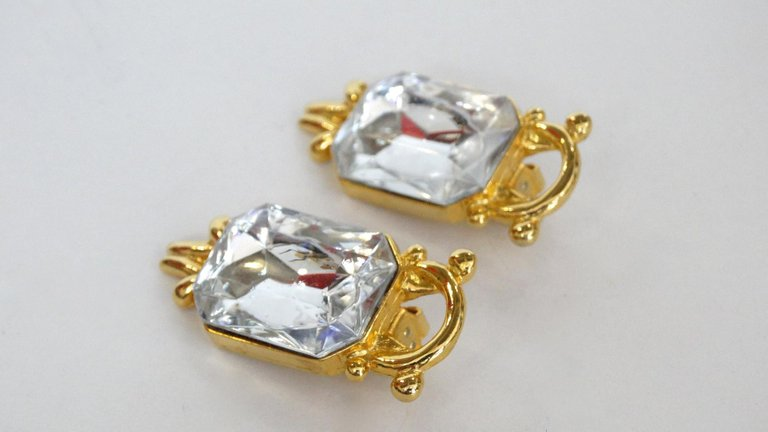 1980s Paolo Gucci Large Crystal Clip-on Earrings