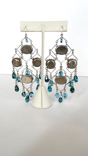 Beaded Wire Dangle Earrings