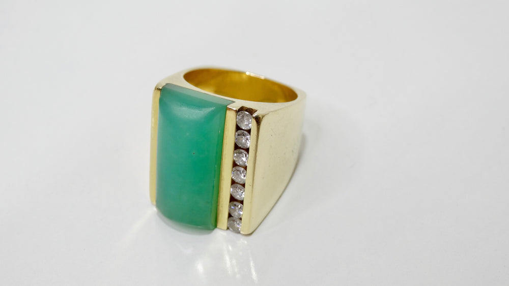 Jade & Diamond Gold Cocktail Ring