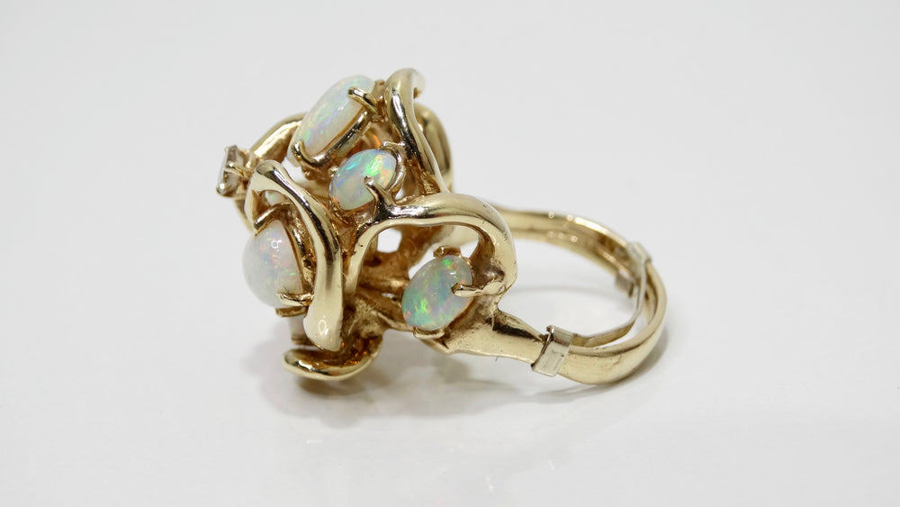 Australian Opal & Diamond 14K Gold Cluster Ring