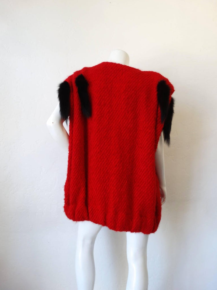 1980s Silver Lining Red Knit Mink Tail Vest