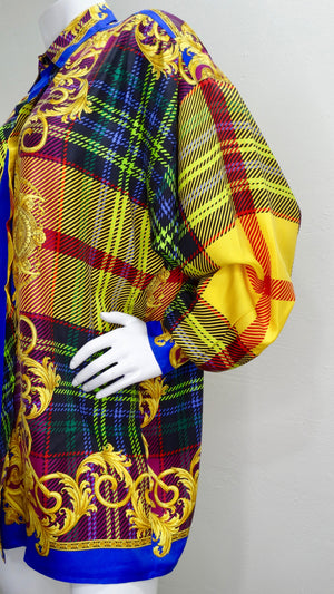Gianni Versace 1990s Multi-Colored Plaid Shirt