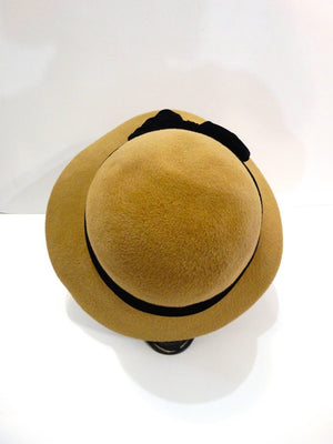 1960s Yves Saint Laurent Tan Cloche Bow Hat