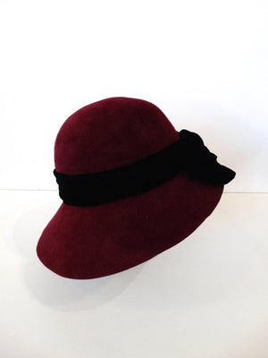 1960s Yves Saint Laurent Bordeaux Cloche Bow Hat
