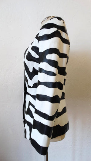 1980s Jean Claude Jitrois Zebra Leather Jacket