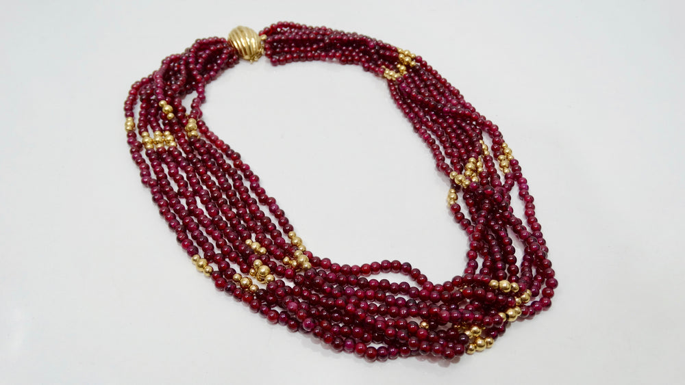 Red Garnet Multi-Strand Necklace