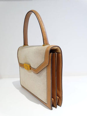 1960s Hermes Tan Canvas Box Leather Top Handle Handbag