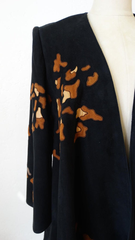 1980s Jean Claude Leopard Motif Suede Leather Jacket