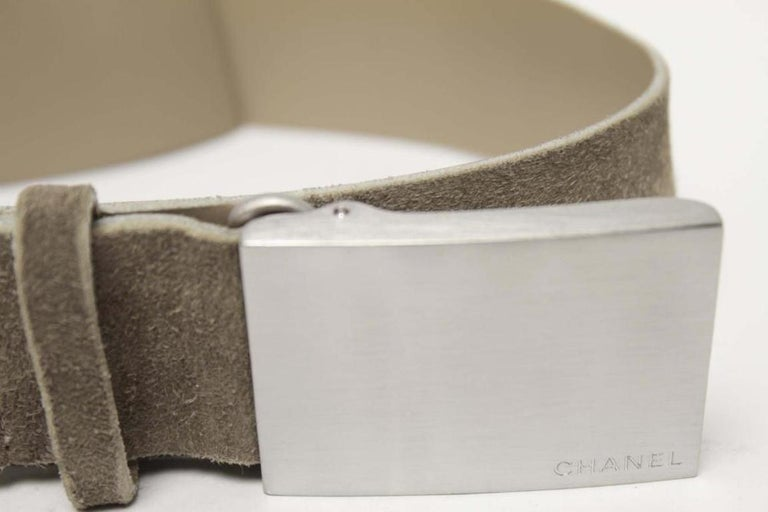 Chanel Suede Belt With Metal Buckle