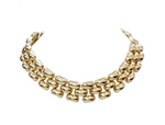 14k Yellow Gold Flexible Panther Link Collar Necklace
