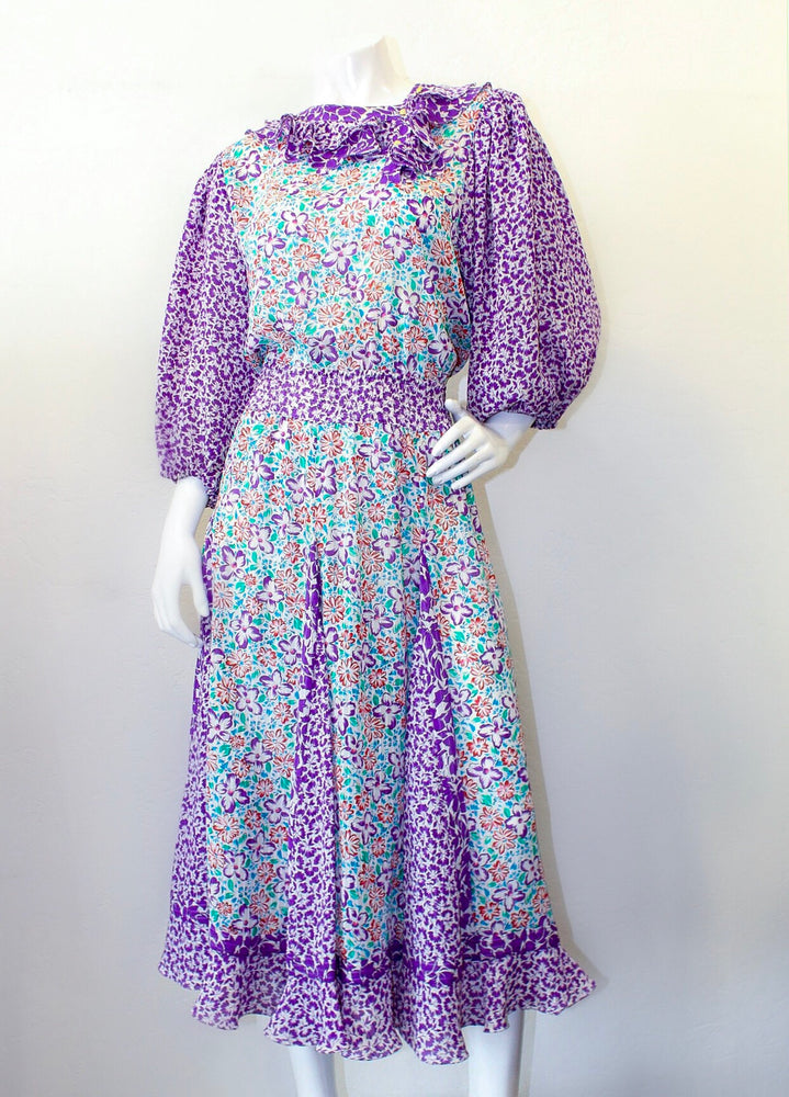 Diane Freis Mixed Floral Pattern Dress