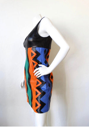 1980s Michael Hoban Tribal Leather Tank Dress