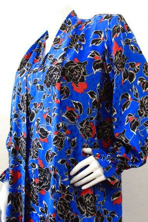 1980s Yves Saint Laurent Floral Print Dress