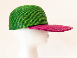 Yves Saint Laurent Color Block Straw Cap
