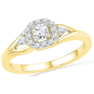 10kt Yellow Gold Womens Round Diamond Solitaire Bridal Wedding Engagement Ring 1/3 Cttw 100371 - shirin-diamonds