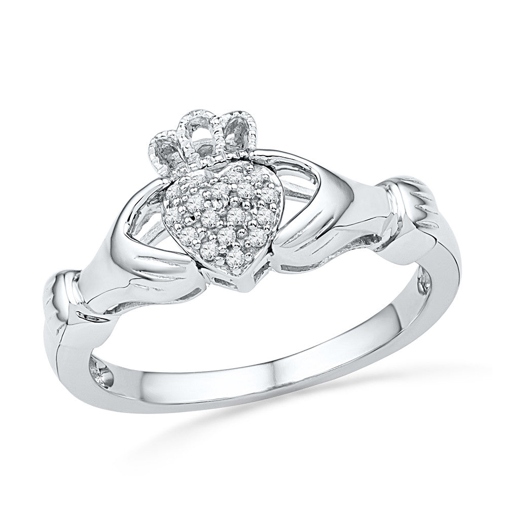10kt White Gold Womens Round Diamond Claddagh Hands & Heart Cluster Ring 1/20 Cttw 100890 - shirin-diamonds