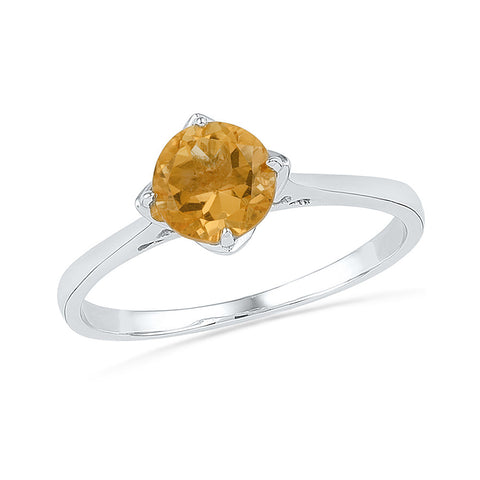Sterling Silver Womens Round Lab-Created Citrine Solitaire Bridal Ring 3/4 Cttw 101277 - shirin-diamonds