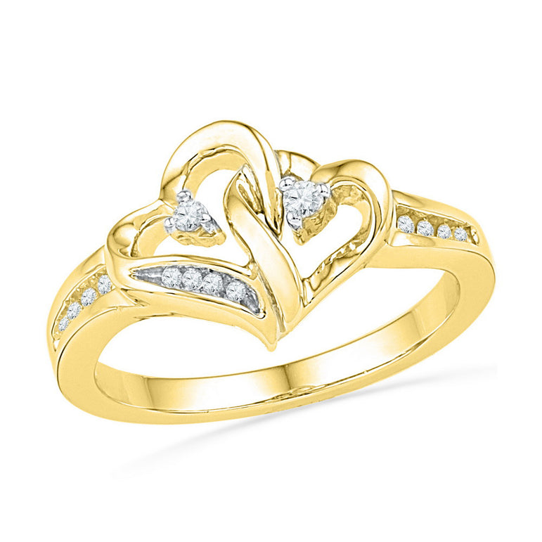 10kt Yellow Gold Womens Round Diamond Double Heart Love Ring 1/10 Cttw 101813 - shirin-diamonds