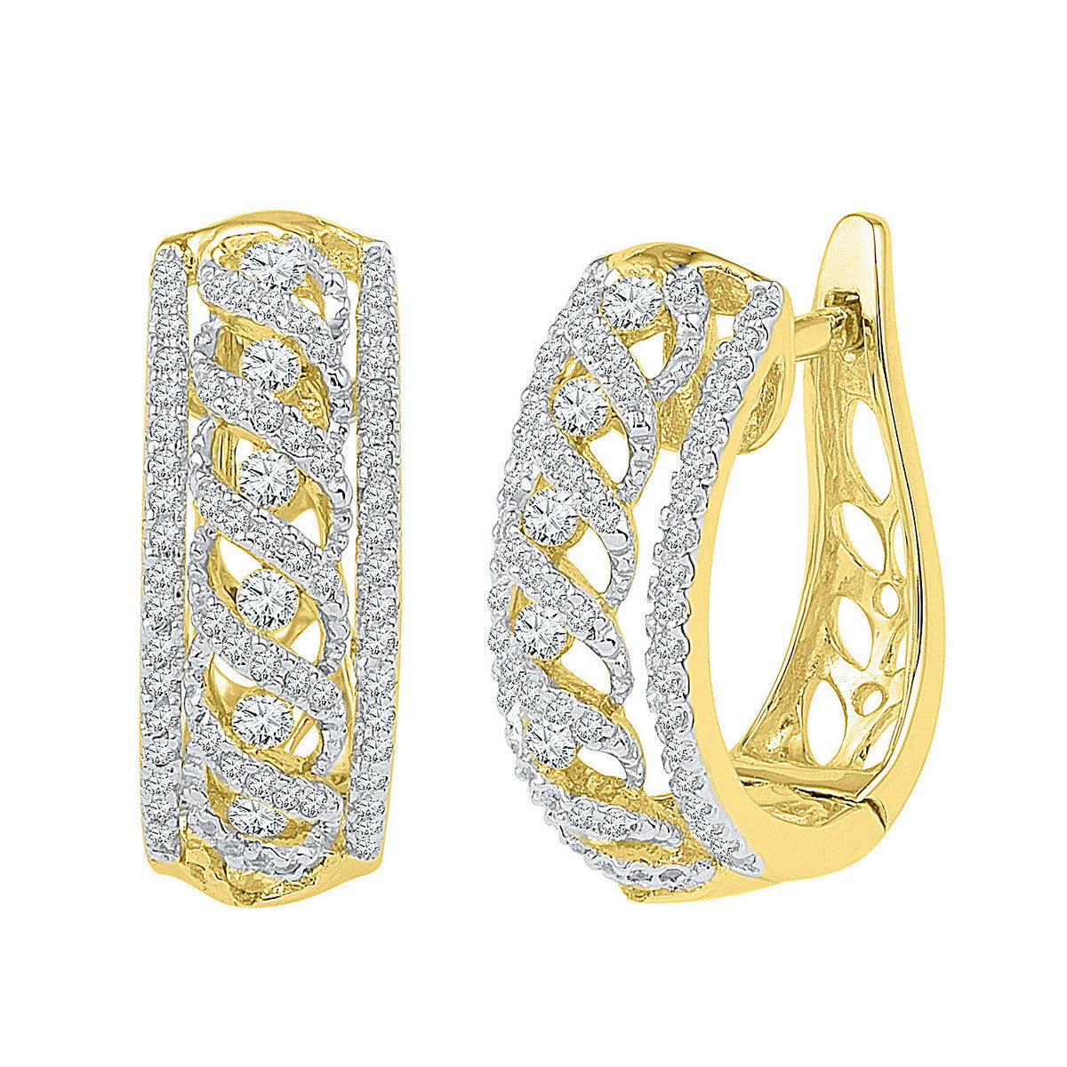 10kt Yellow Gold Womens Round Diamond Crisscrossed Openwork Hoop Earrings 3/4 Cttw 101943 - shirin-diamonds