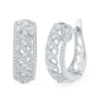 10kt White Gold Womens Round Diamond Crisscrossed Openwork Hoop Earrings 3/4 Cttw 101944 - shirin-diamonds