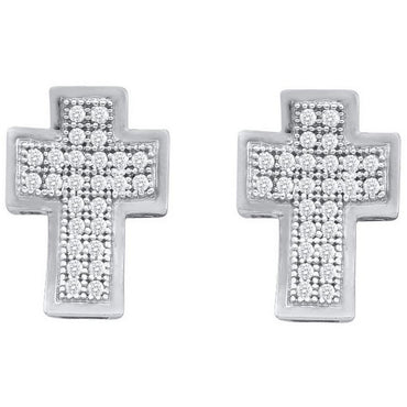 10kt White Gold Womens Round Diamond Concave Cross Screwback Stud Earrings 1/10 Cttw 102605 - shirin-diamonds