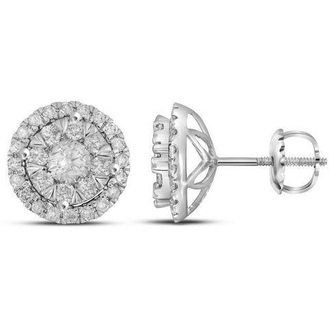 14kt White Gold Womens Round Diamond Concentric Circle Frame Cluster Earrings 1.00 Cttw 104788 - shirin-diamonds