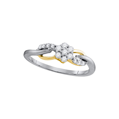 10kt White Gold Womens Round Diamond Flower Cluster Infinity Ring 1/4 Cttw 105781 - shirin-diamonds