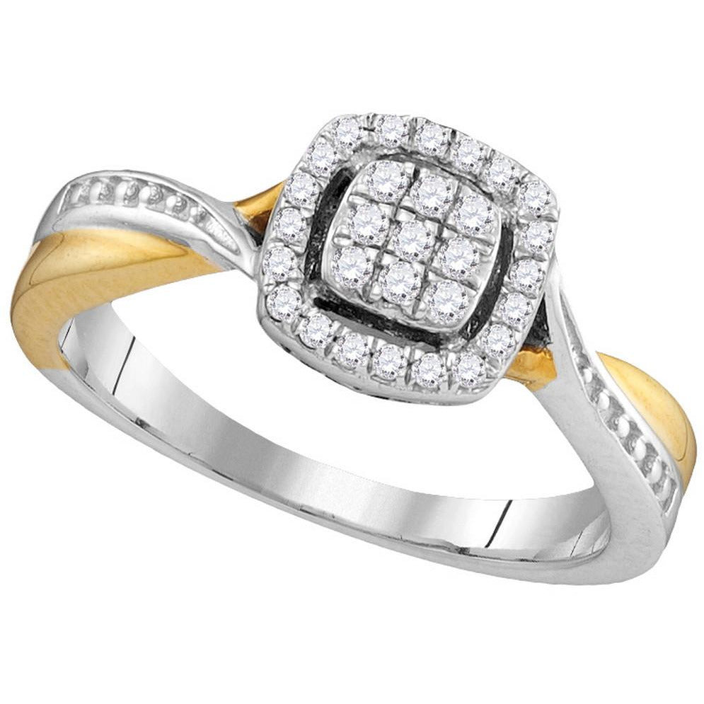 10kt Two-tone Gold Womens Round Diamond Square Cluster Bridal Wedding Engagement Ring 1/5 Cttw 105790 - shirin-diamonds