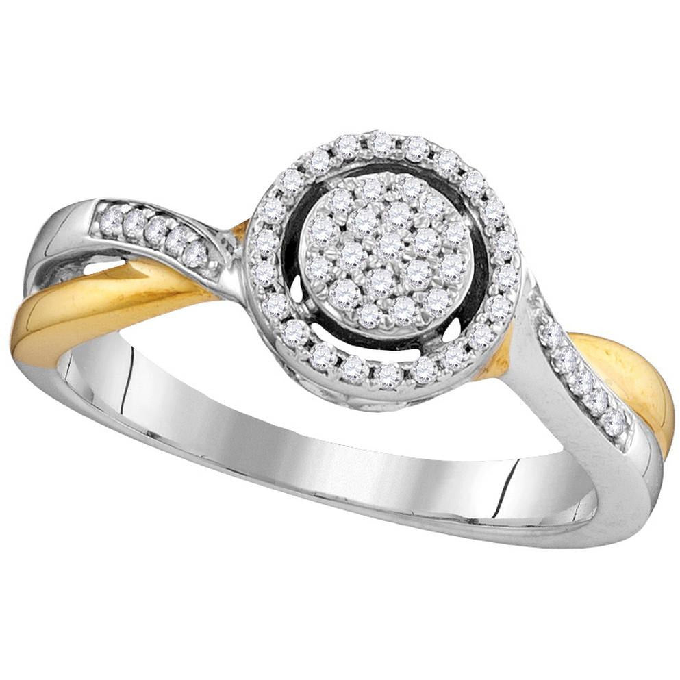 10kt Two-tone Gold Womens Round Diamond Circle Cluster Bridal Wedding Engagement Ring 1/5 Cttw 105793 - shirin-diamonds