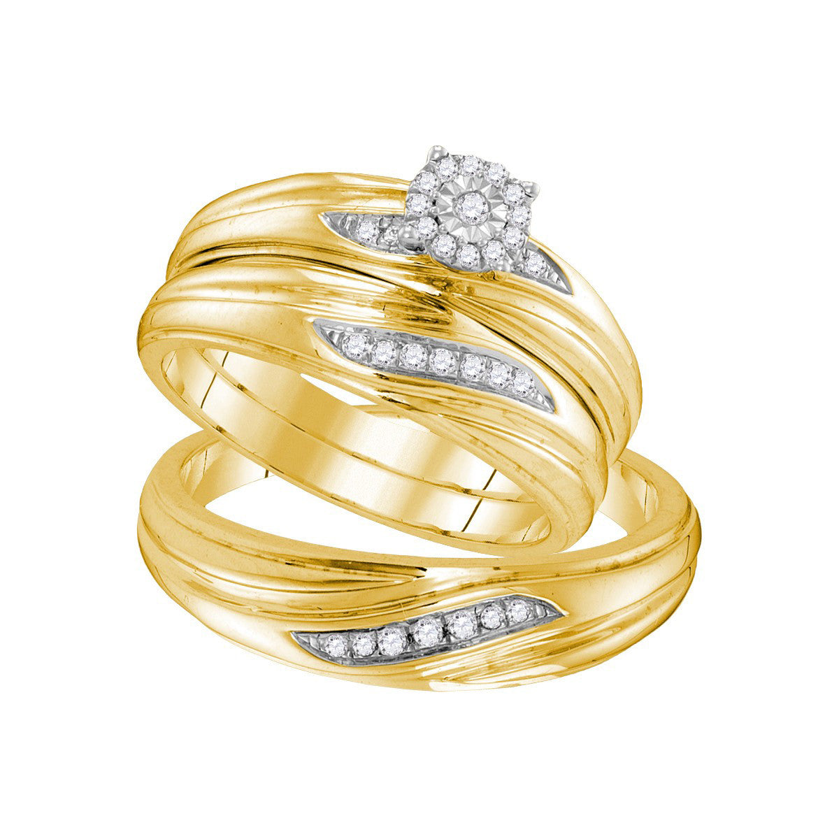 Yellow-tone Sterling Silver His & Hers Round Diamond Solitaire Matching Bridal Wedding Ring Band Set 1/5 Cttw 105809 - shirin-diamonds