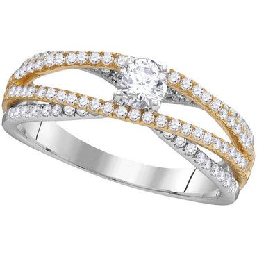 14kt White Gold Womens Round Diamond 2-tone Bridal Wedding Engagement Ring 3/4 Cttw 105894 - shirin-diamonds