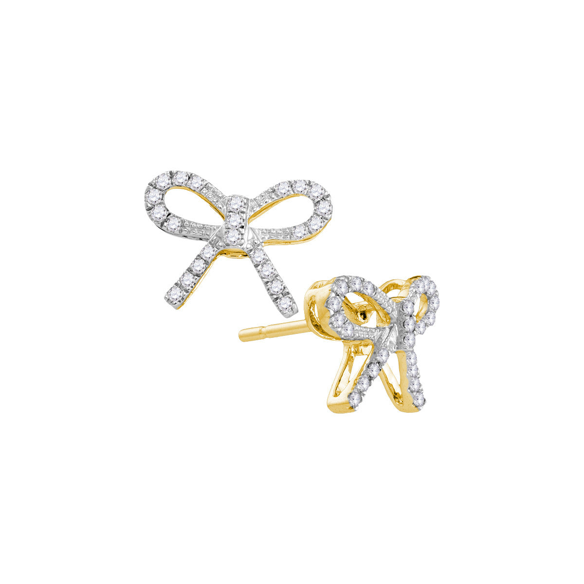 10kt Yellow Gold Womens Round Diamond Bow-tie Stud Earrings 1/5 Cttw 105917 - shirin-diamonds