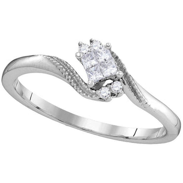 10kt White Gold Womens Princess Diamond Cluster Promise Bridal Ring 1/10 Cttw 106177 - shirin-diamonds