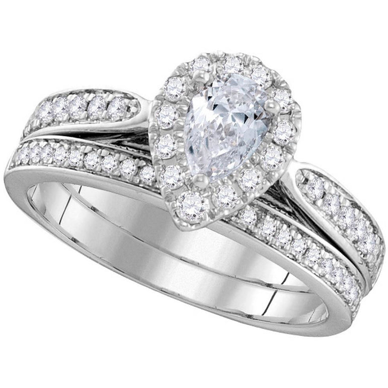 14kt White Gold Womens Pear Diamond Bridal Wedding Engagement Ring Band Set 1.00 Cttw 106299 - shirin-diamonds