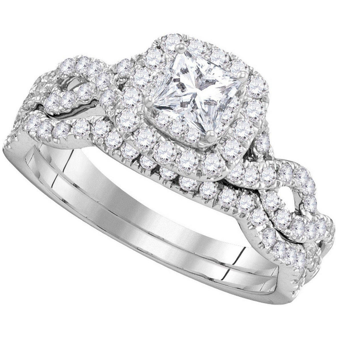 14kt White Gold Womens Princess Diamond Bridal Wedding Engagement Ring Band Set 1.00 Cttw 106339 - shirin-diamonds