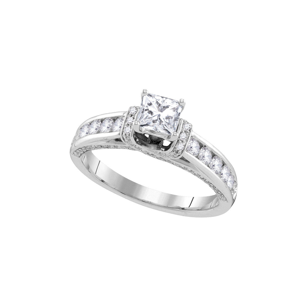 14kt White Gold Womens Princess Diamond Solitaire Bridal Wedding Engagement Ring 1-1/4 Cttw 107350 - shirin-diamonds