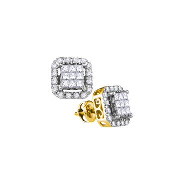 14kt Yellow Gold Womens Princess Diamond Square Frame Cluster Stud Earrings 1.00 Cttw 107351 - shirin-diamonds
