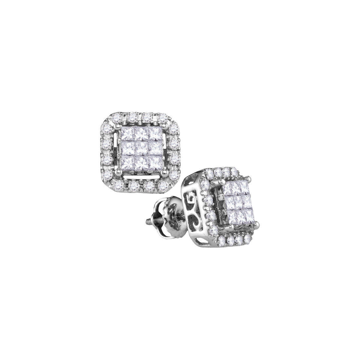 14kt White Gold Womens Princess Diamond Square Frame Cluster Stud Earrings 1.00 Cttw 107352 - shirin-diamonds