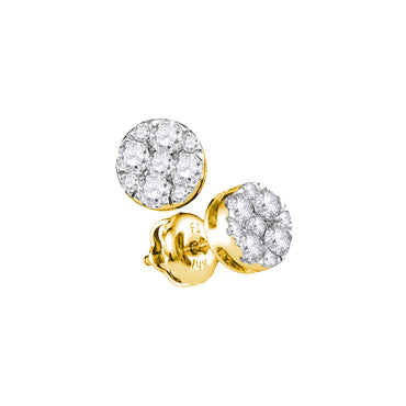 14kt Yellow Gold Womens Round Diamond Flower Cluster Stud Earrings 1/2 Cttw 107406 - shirin-diamonds